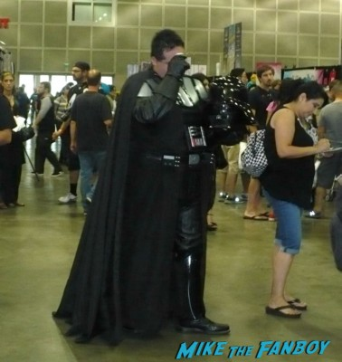 husky darth vader cosplayer at stan lee's comikaze expo 2012 sweating in the heat of the day
