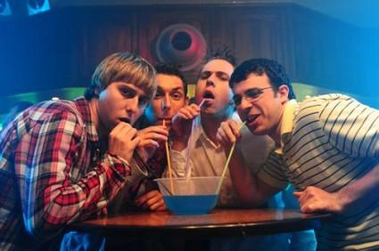 the inbetweeners cast photo feature film Simon Bird, James Buckley, Blake Harrison, and Joe Thomas