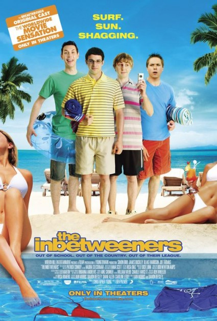 inbetweeners one sheet movie poster uk movie rare promo the inbetweeners cast photo feature film Simon Bird, James Buckley, Blake Harrison, and Joe Thomas