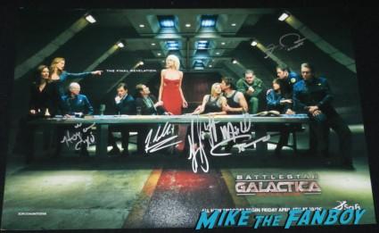 battlestar galactica last supper signed autograph poster katee sackhoff michael trucco michael hogan grace park james callis