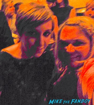 lena dunham posing with pinky from mike the fanboy at the emmy awards 2012 rare promo