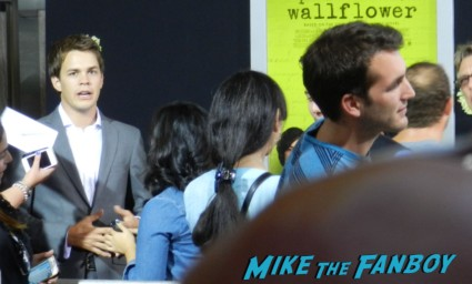 Johnny Simmons on the red carpet at the perks of a wallflower movie premiere rare promo signed
