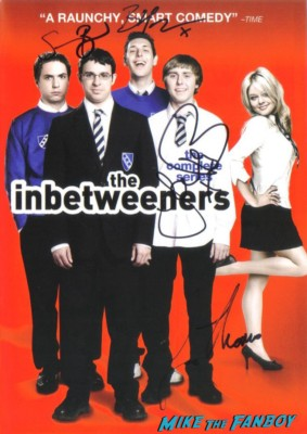 the inbetweeners cast signed autograph complete series dvd set  the inbetweeners at at saddle ranch in los angeles The cast of the uk hit film the inbetweeners at pink's hot dogs in los angeles Simon Bird, James Buckley, Blake Harrison and Joe Thomas