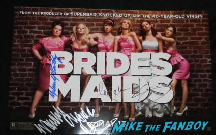 bridesmaids signed autograph promo mini poster movie rare melissa mccarthy signing autographs emmy party 030