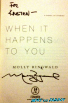 molly ringwald signed autograph copy of when it happens to you in hard back rare promo book