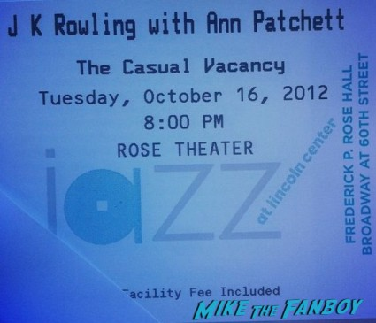 JK Rowling q and a ticket for her book signing in new york city for The Casual Vacancy harry potter author autograph rose theater
