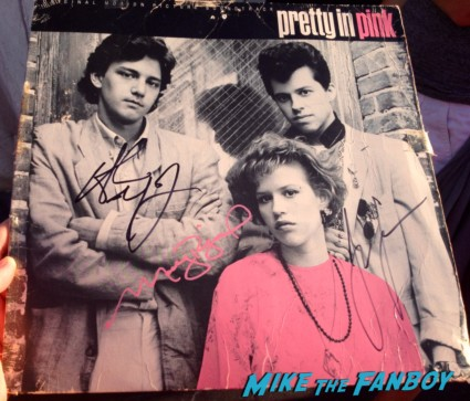 jon cryer molly ringwald andrew mccarthy hot sexy signed pretty in pink lp promo record vinyl cast signed poster