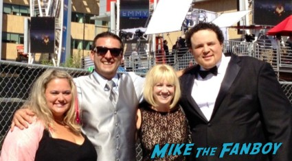 pinky from mike the fanboy lindsay from I am not a stalker.com duggan and adam at the emmy awards 2012