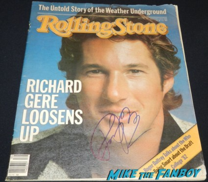 richard gere signed autograph 1982 vintage rolling stone magazine hot sexy rare an office and a gentleman promo richard gere signing autographs for fans 042