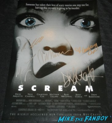 courteney cox david arquette neve campbell wes craven signed autograph scream mini movie poster matthew lillard rare