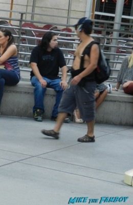 ugly shirtless dude waling around hollywood rare man boobs put a shirt on gross