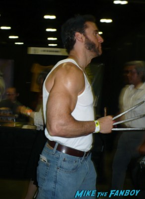sexy muscular wolverine at san lee's nerd dating game gladiator costume stan lee's  comikaze expo 2012 sweating in the heat of the day
