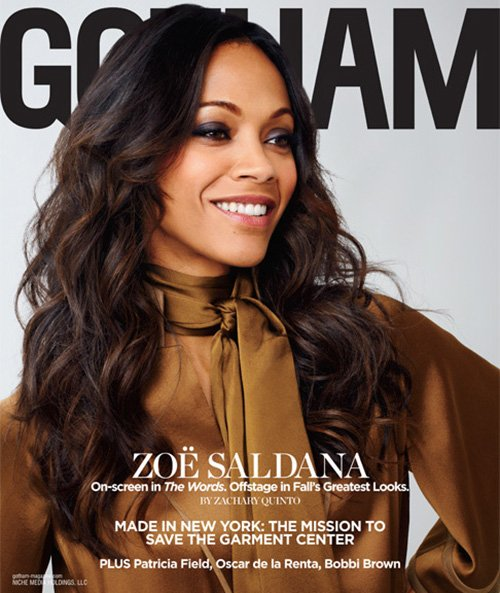sexy zoe saldana covers the september 2012 issue of Gotham magazine hot sexy photo shoot rare promo star trek star rare promo sexy