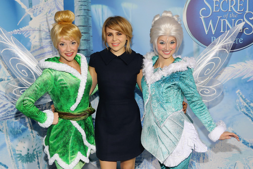 mae whitman at the Tinkerbell secret of the wings new york movie premiere with mike tyson angelica huston matt lanter timothy dalton mae whitman