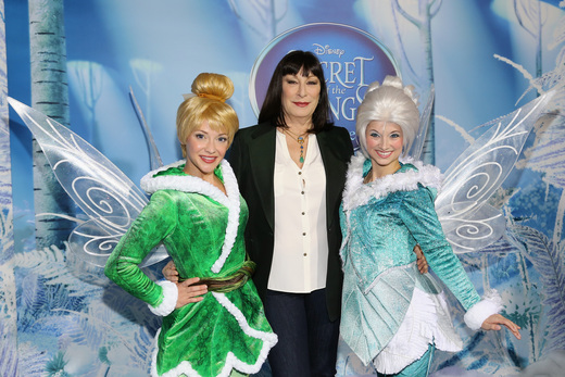 angelica huston at the Tinkerbell secret of the wings new york movie premiere with mike tyson angelica huston matt lanter timothy dalton mae whitman