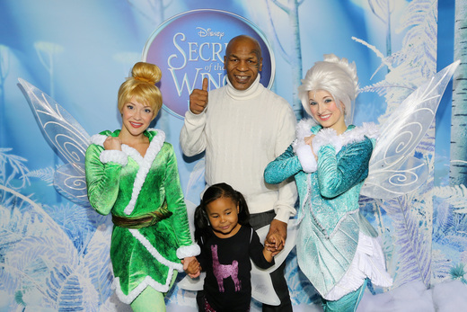 mike tyson at the Tinkerbell secret of the wings new york movie premiere with mike tyson angelica huston matt lanter timothy dalton mae whitman