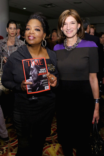 oprah winfrey attends steven spielberg and daniel day lewis participating in a q and a for Lincoln in New York city october 2012 rare promo ho time magazine