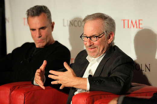 steven spielberg and daniel day lewis participating in a q and a for Lincoln in New York city october 2012 rare promo ho time magazine