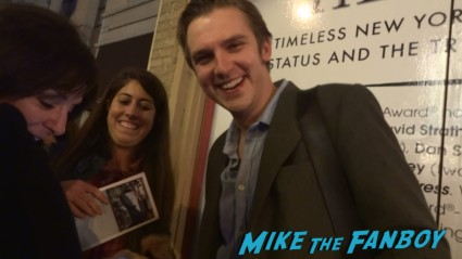 Downton abbey star dan stevens signing autographs for fans after a performance of heiress on Broadway