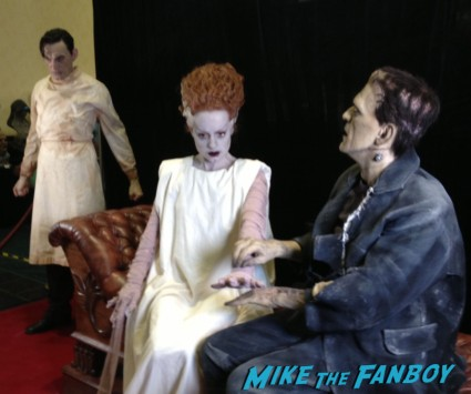 frankenstein and the bride of frankenstein display at son of monsterpalooza zombie bride cosplayers hot monsters at son of monsterpalooza in burbank rare promo halloween gore