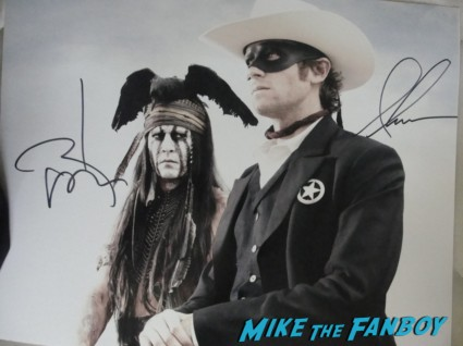 armie hammer and johnny depp signed autograph lone ranger rare promo photo hot sexy tonto promo