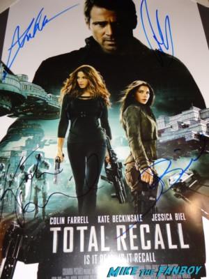 Total Recall signed autograph mini movie poster colin farrell kate beckinsale jessica biel rare promo hot
