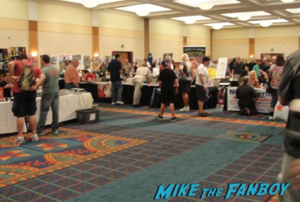 the burbank hollywood collector's show autograph room with former stars signing autographs and movie memorabilia