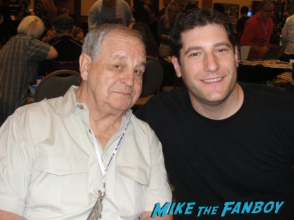 paul dooley with mike the fanboy at the hollywood collector's show in burbank posing for a fan photo paul dooley signed autograph sixteen candles star signature rare mini movie poster promo