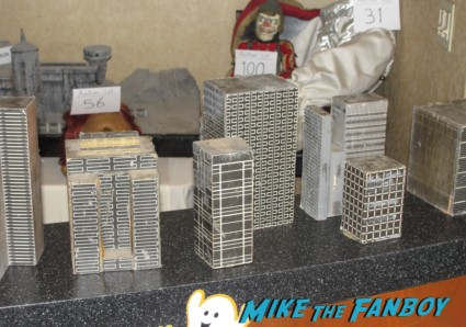 original miniature filming buildings from Escape From New York on display at the Burbank collector's show