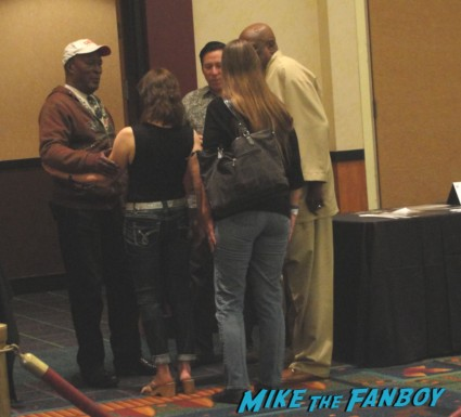 John amos talking with Louis Gossett Jr. at the hollywood collector's show in burbank signed autograph