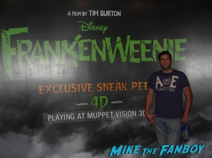 Mike The Fanboy at the art of frankenweenie exhibit at walt disneys california adventure prop costume maquette artwork display