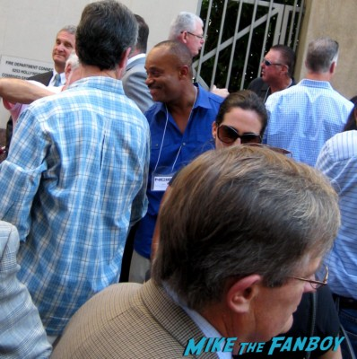 David McCallum arriving at Mark Harmon's walk of fame star ceremony and greeting fans ncis star