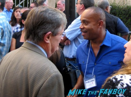 David McCallum rocky carroll arriving at Mark Harmon's walk of fame star ceremony and greeting fans ncis star