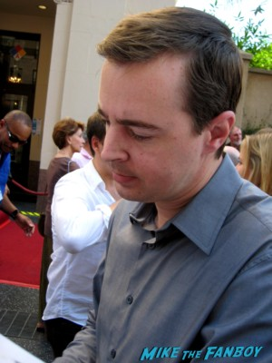 Brian Dietzen   signing autographs for fans at mark harmon walk of fame star ceremony in hollywood hocus pocus star
