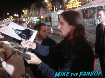 christian bale signing autographs for fans at the fighter premiere in hollywood  enchanted uk quad mini movie poster rare promo patrick dempsey
