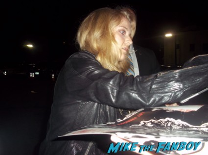 Winter Ave Zoli from sons of anarchy signing autographs for fans at the season 5 wrap party