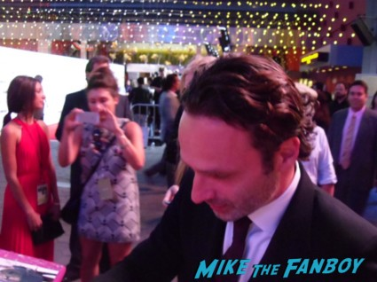 sexy norman reedus and Andrew lincoln  signing autographs for fans at the walking dead season 3 premiere at universal citywalk andrew lincoln rare promo hot