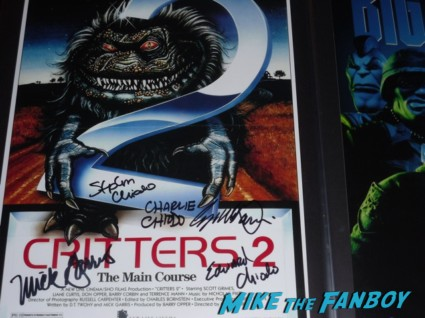 critters 2 signed movie poster Killer Klowns from Outerspace DVD signing Charles Chiodo Edward Chiodo Stephen Chiodo Killer Klowns from Outerspace DVD signing