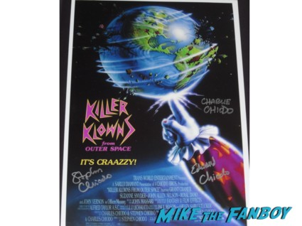 killer klowns from outerspace signed movie poster Killer Klowns from Outerspace DVD signing Charles Chiodo Edward Chiodo Stephen Chiodo Killer Klowns from Outerspace DVD signing