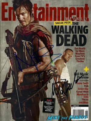 norman reedus and michael rooker signed autograph the walking dead promo entertainment weekly magazine