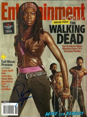 Danai Gurira signed autograph the walking dead entertainment weekly magazine signing autographs for fans at the walking dead season 3 premiere at universal citywalk andrew lincoln rare promo hot