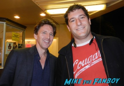 mike the fanboy posing with andrew mccarthy from pretty in pink at the aero heater in santa monica ca