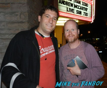 Joss whedon posing for a fan photo with mike the fanboy at a screening of less than zero with andrew mccarthy rare signing autographs