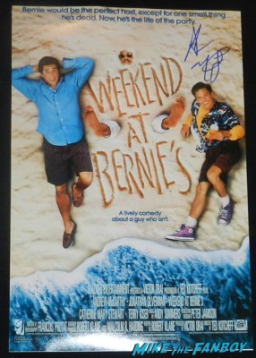 andrew mccarthy signed autograph weekend at bernie's rare promo mini movie poster promo rare andrew mccarthy signing autographs for fans at his book signing and q and a for less than zero rare promo signed autograph rare promo