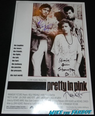 jon cryer andrew mccarthy harry dean stanton annie potts signed autograph pretty in pink mini movie poster promo rare