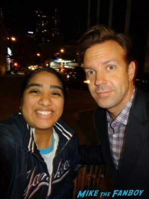 Jason Sudeikis signing autographs and posing with elisa from mike the fanboy at the night of too many stars in new york city