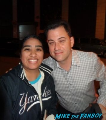jimmy kimmel signing autographs and posing with elisa from mike the fanboy at the night of too many stars in new york city