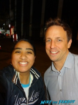 seth myers signing autographs and posing with elisa from mike the fanboy at the night of too many stars in new york city