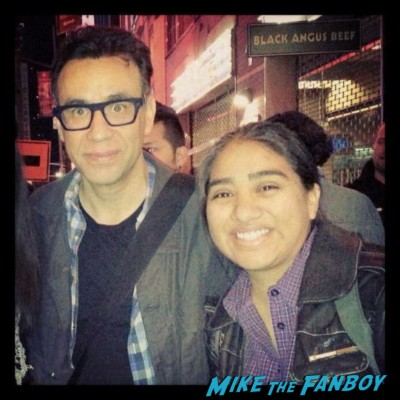 fred armisen from SNL  posing for a fan photo with elisa from the big apple from mike the fanboy in new york rare promo