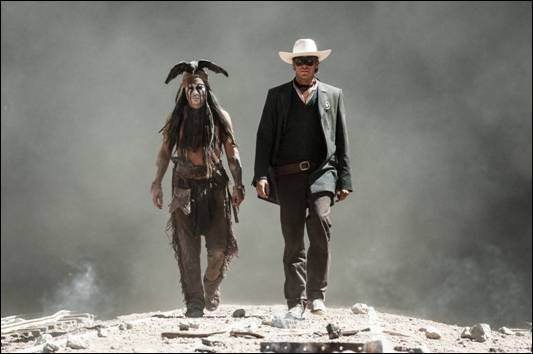 Johnny Depp and Armie Hammer in The Lone Ranger press promo still tonto rare Johnny Depp The lone ranger promo teaser movie poster armie hammer rare promo hot